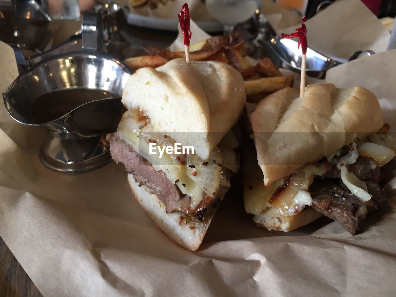 High Angle View Of Meat Sandwich On Table