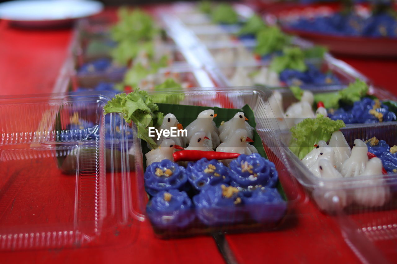 Close-up of food in container on table