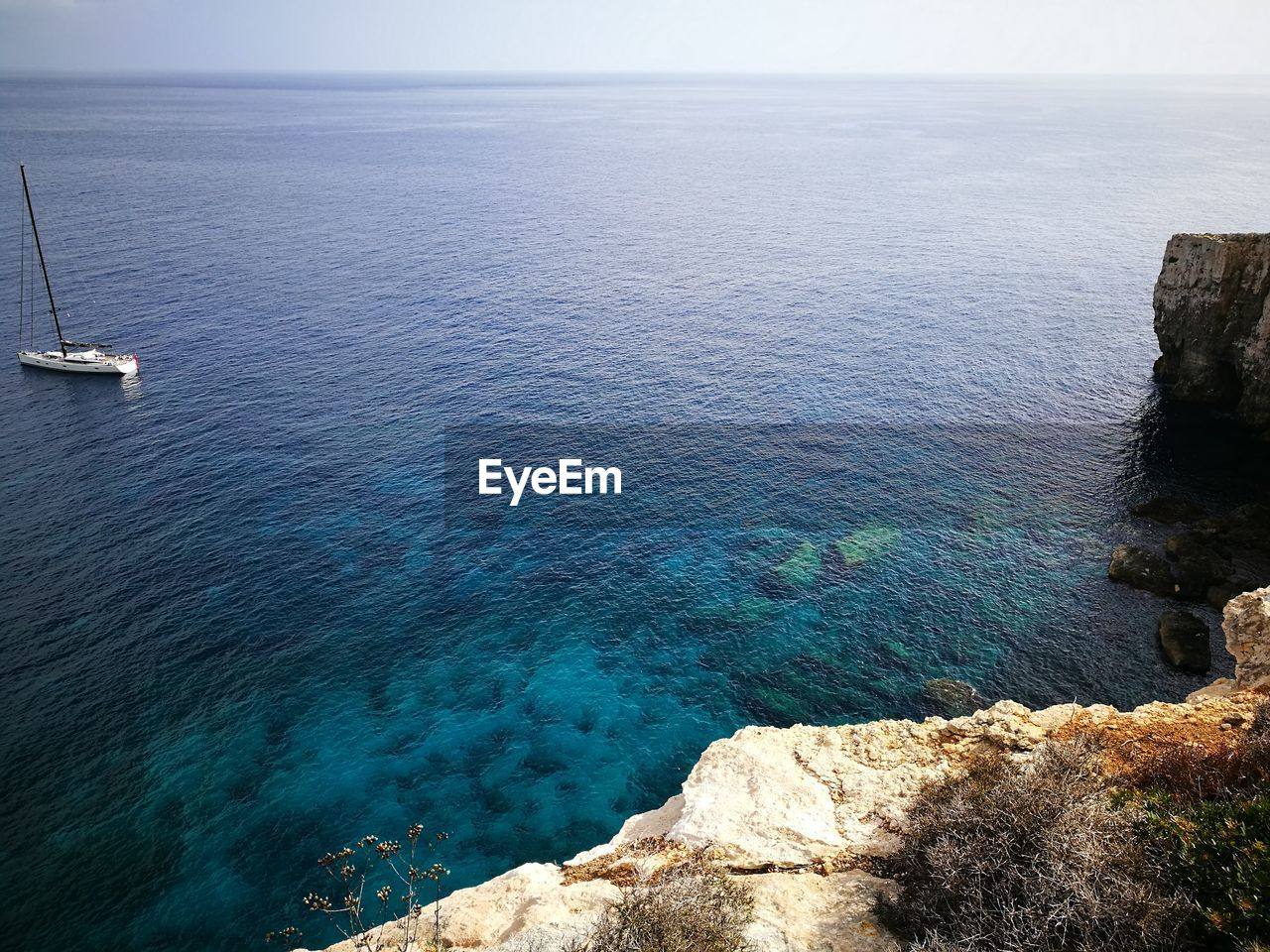 High angle view of sea and rocks against sky