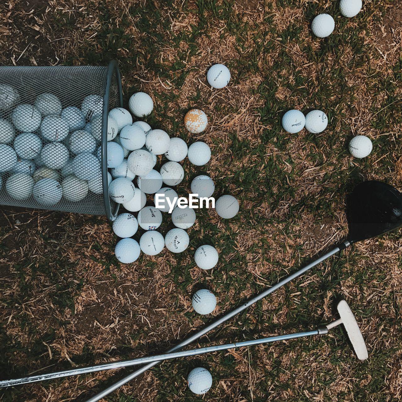 High angle view of golf balls