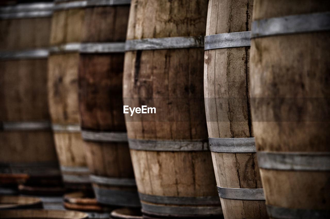 Full Frame Shot Of Barrels