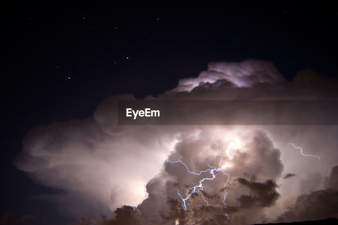 Low Angle View Of Stormy Clouds At Night