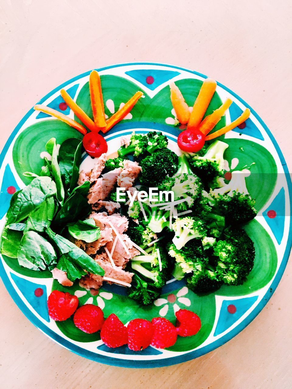 food and drink, food, freshness, healthy eating, ready-to-eat, high angle view, green color, plate, no people, indoors, vegetable, table, serving size, bowl, leaf, close-up, red, day