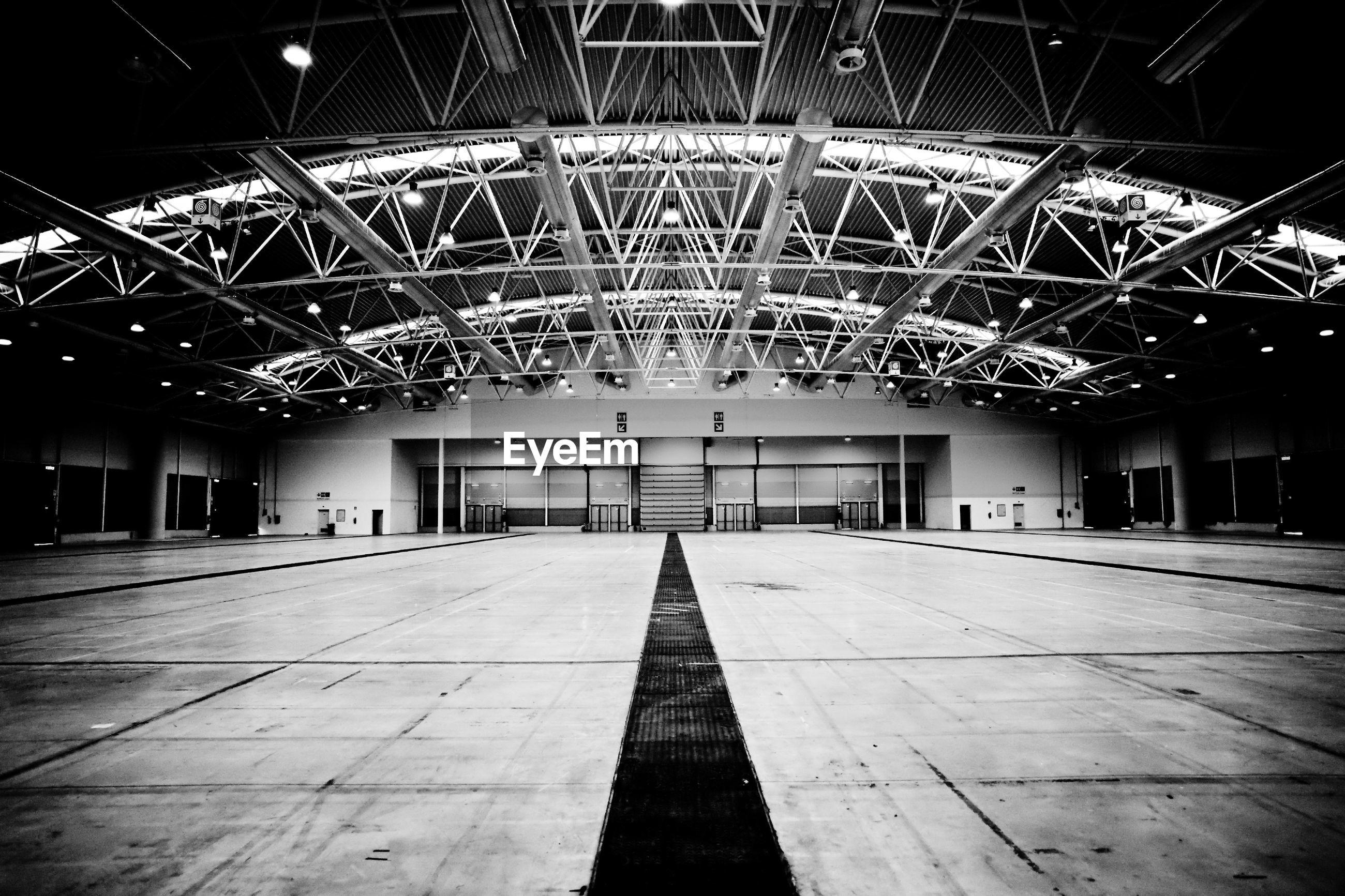 Empty illuminated corridor
