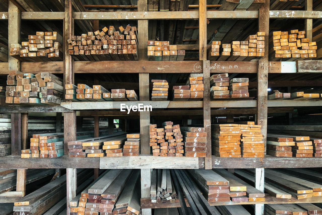 Wood timbers used as a construction material are divided into different sizes and storage separately