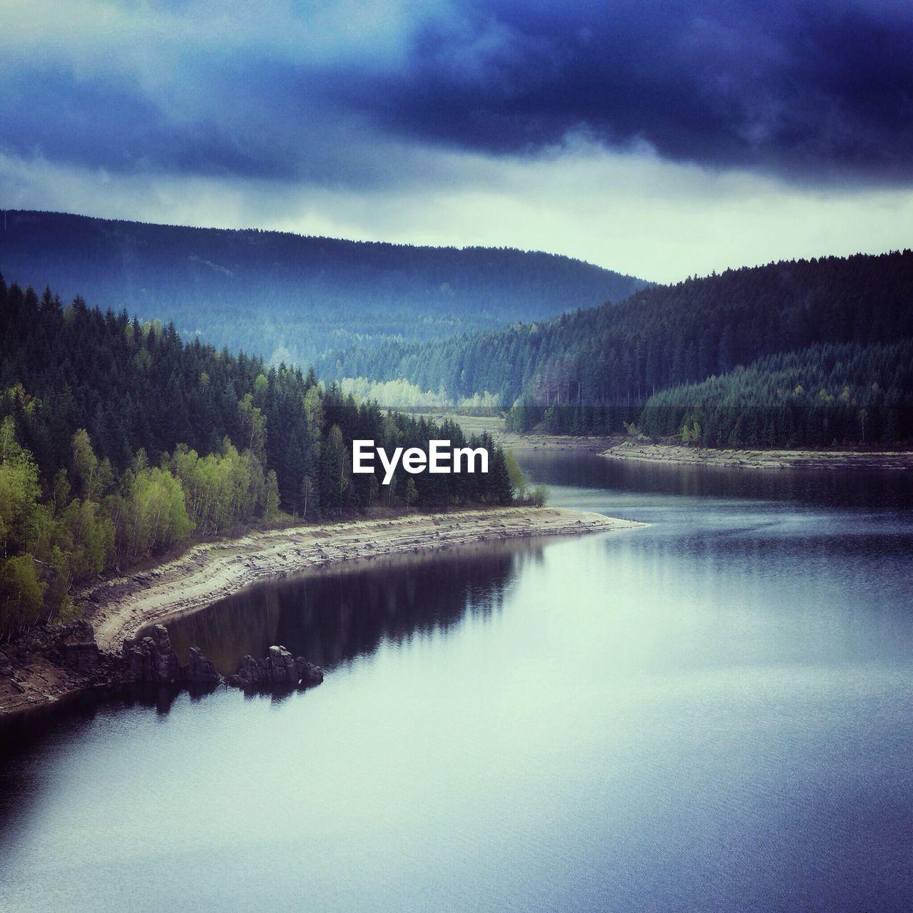 Scenic shot of calm countryside lake