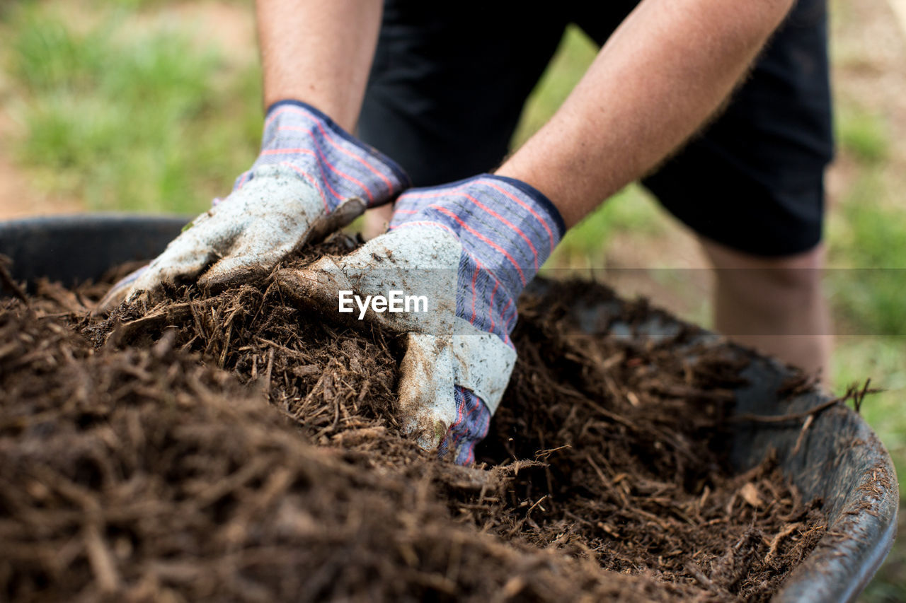 Cropped Hands Of Person Working In Farm