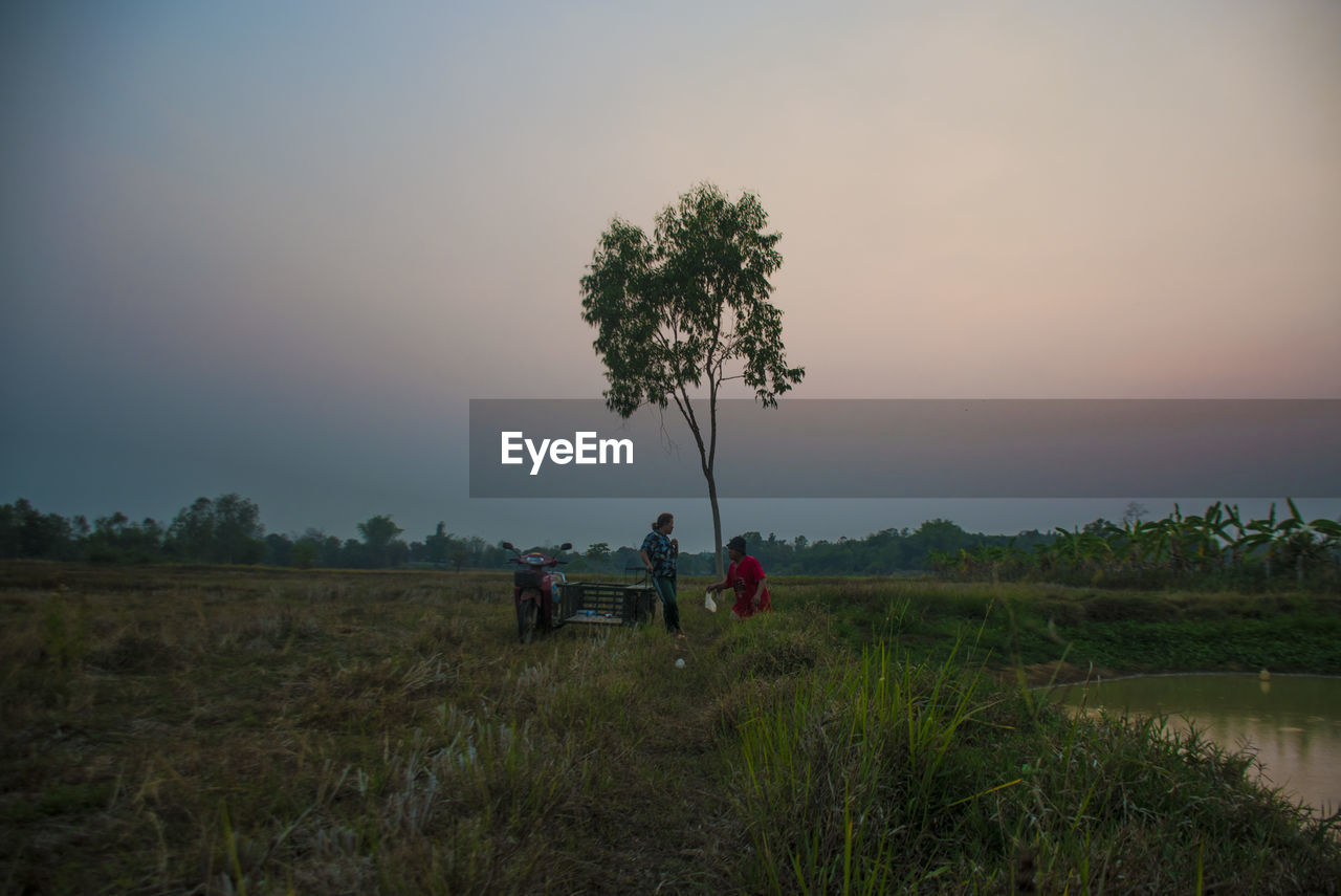 plant, sky, tree, land, field, landscape, environment, nature, real people, beauty in nature, men, grass, scenics - nature, occupation, sunset, growth, two people, people, rural scene, outdoors, farmer