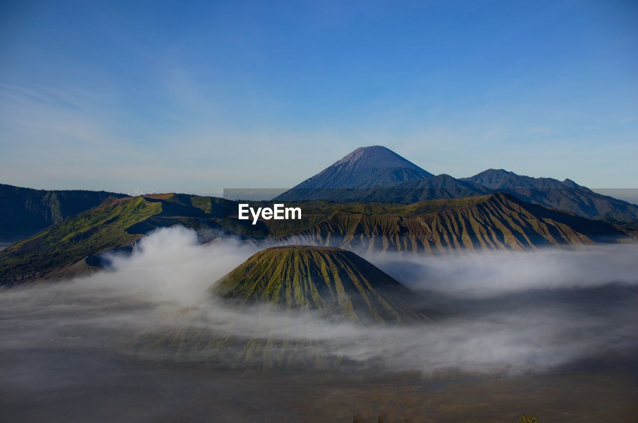 View of volcanic mountain