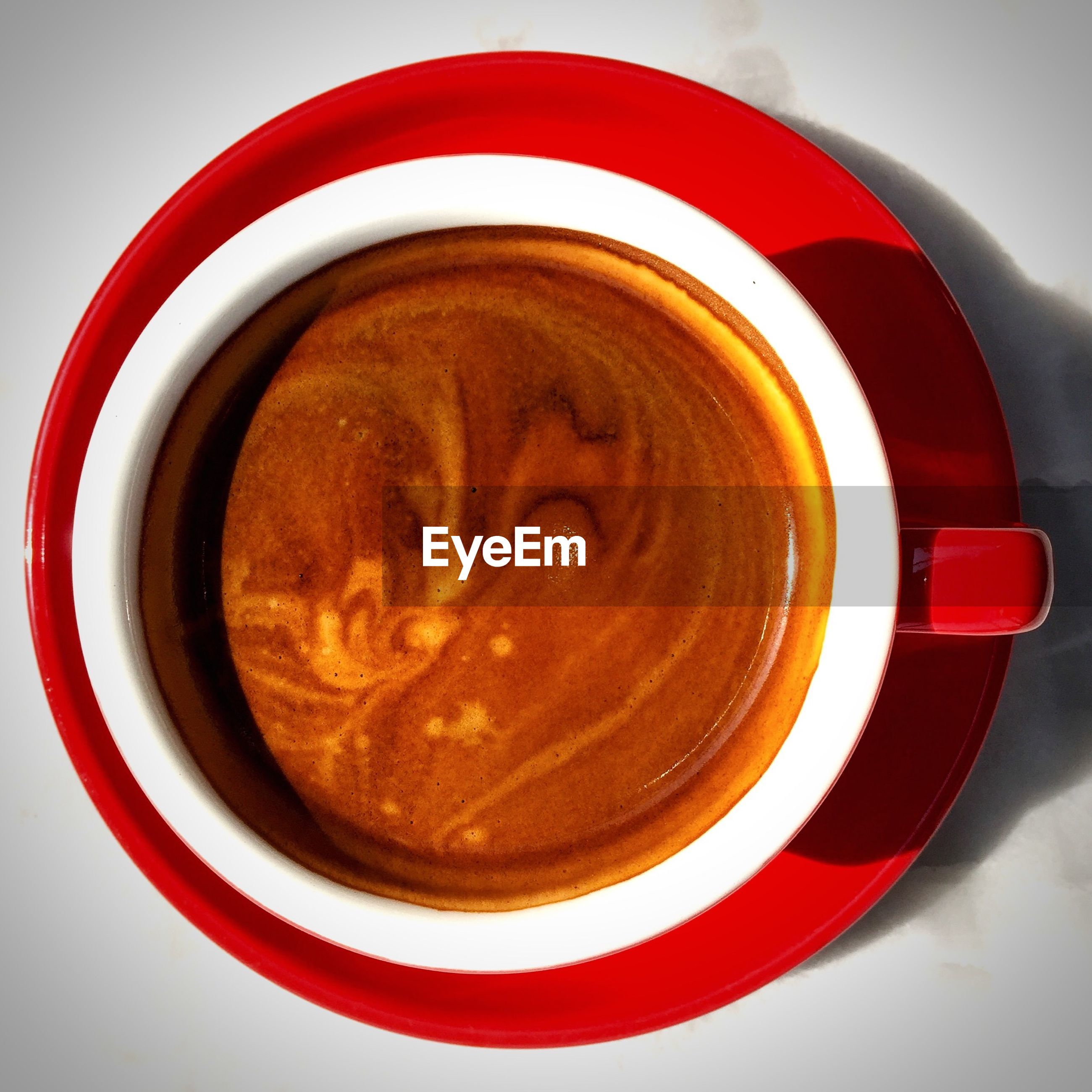 High angle view of coffee in cup