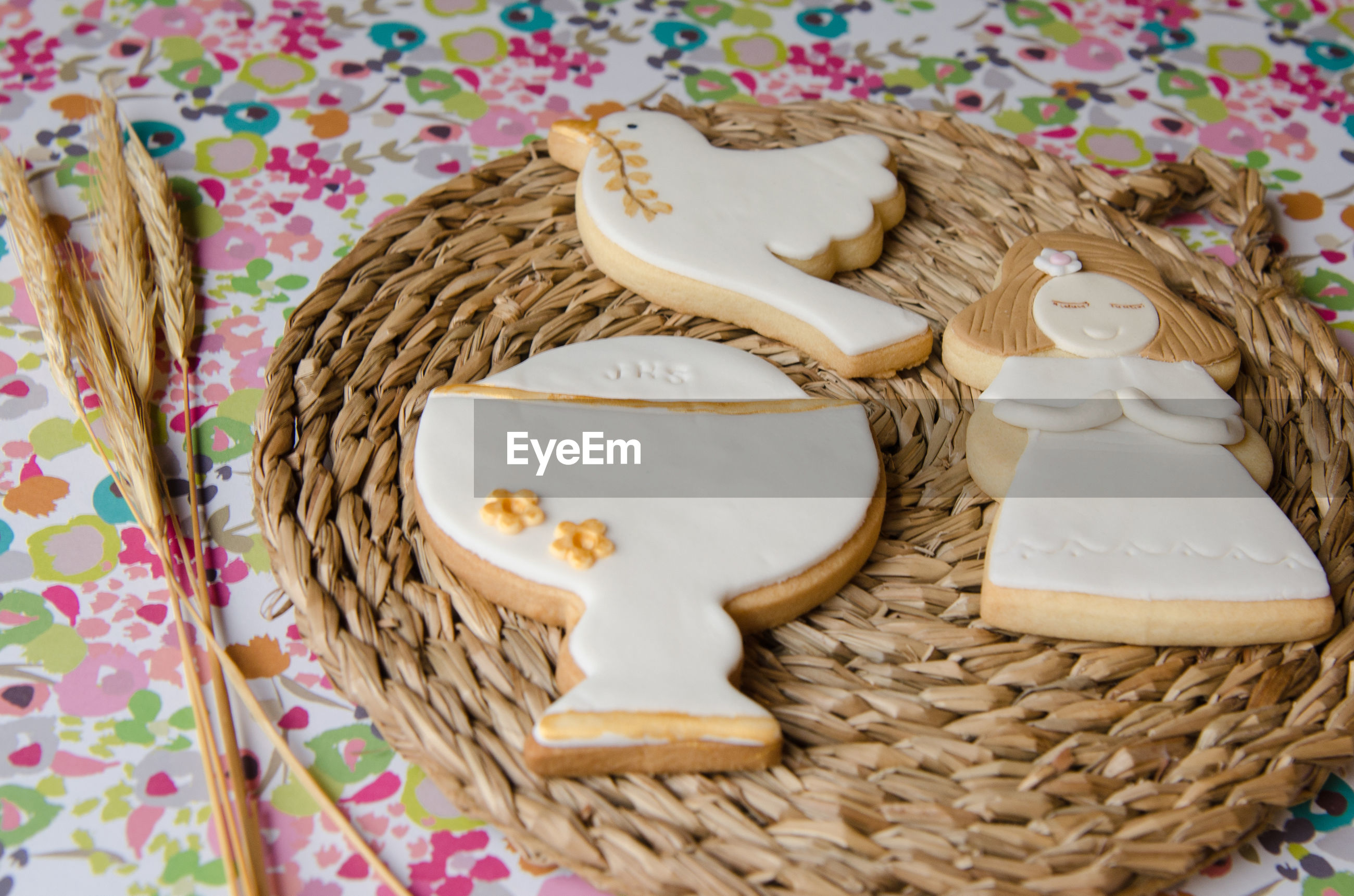 High angle view of cookies on straw placemat