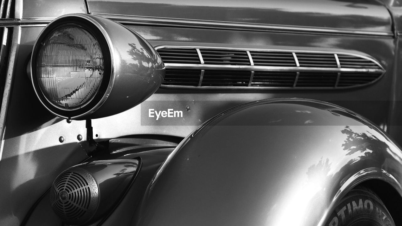 headlight, car, land vehicle, mode of transport, retro styled, transportation, vintage car, old-fashioned, close-up, day, no people, outdoors