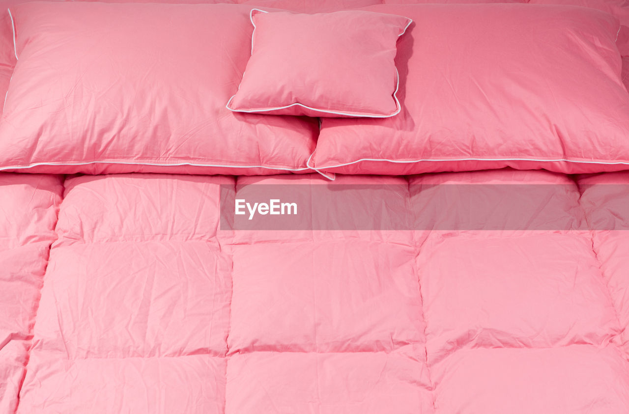 High Angle View Of Pink Bed