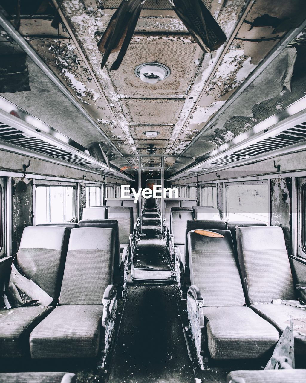 Interior of abandoned bus