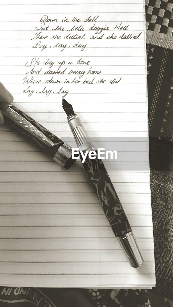 pen, paper, fountain pen, handwriting, no people, indoors, communication, ink, diary, ink well, close-up, day