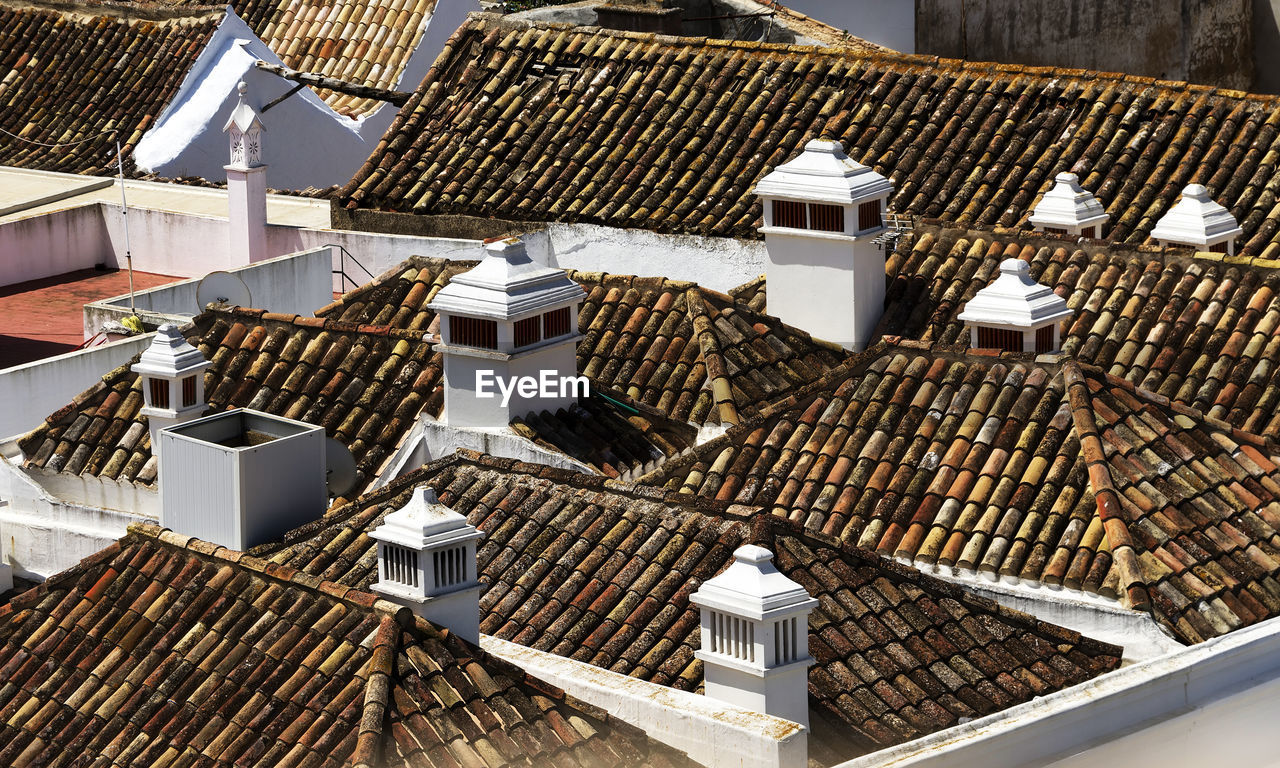 High Angle View Of Rooftop Houses
