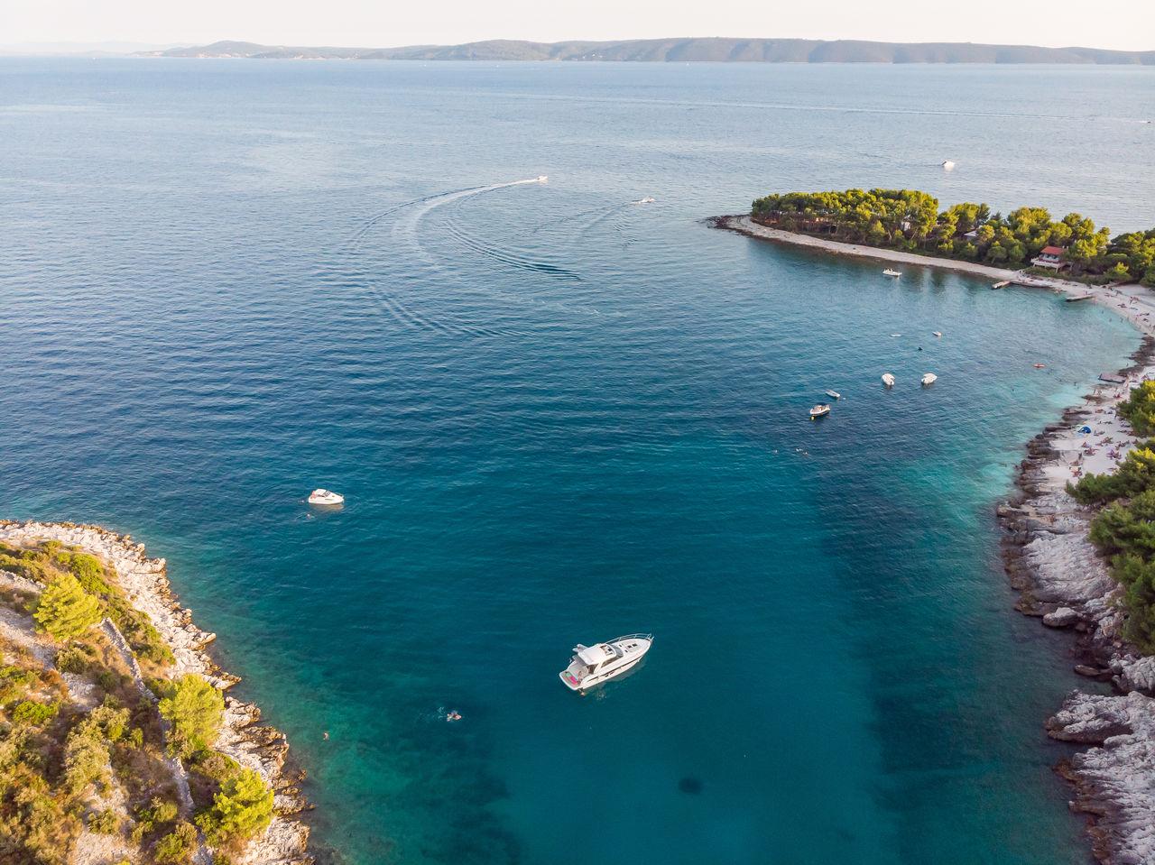 High angle view of adriatic  sea shore