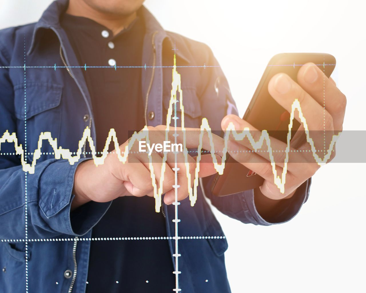 Digital Composite Image Of Pulse Trace By Mature Man Using Smart Phone Against White Background
