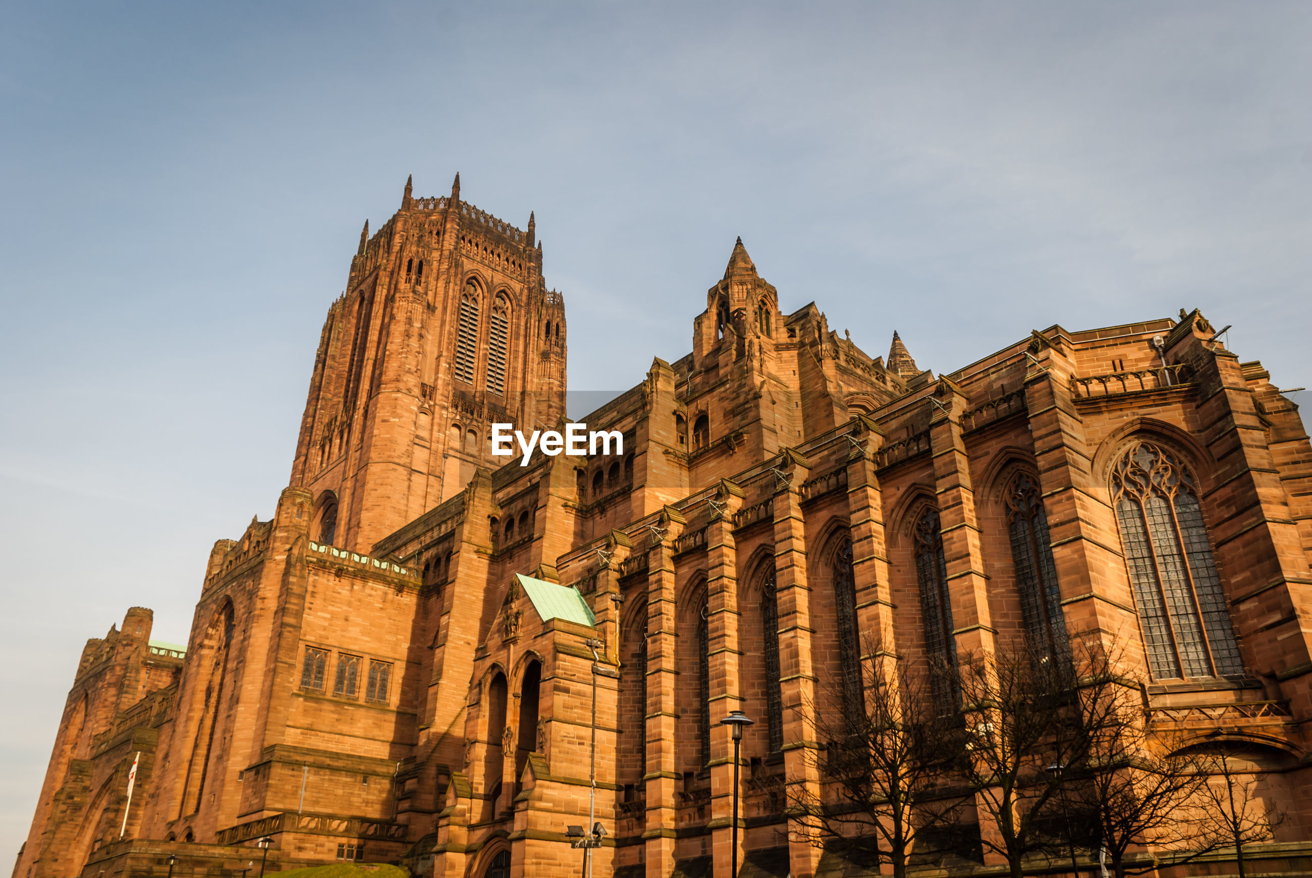 Low angle view of liverpool cathedral against sky