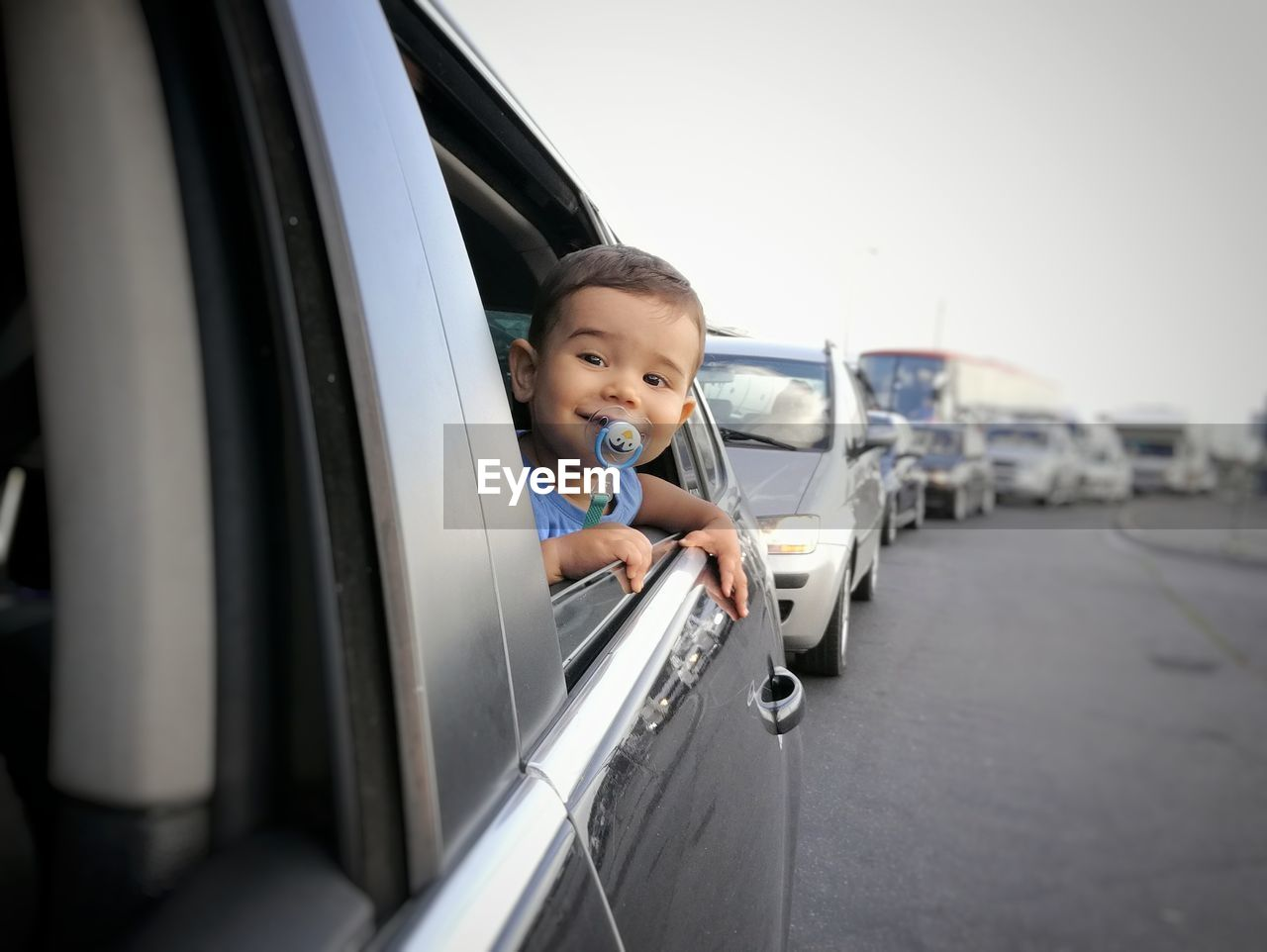 Funny Toddler Boy In Car