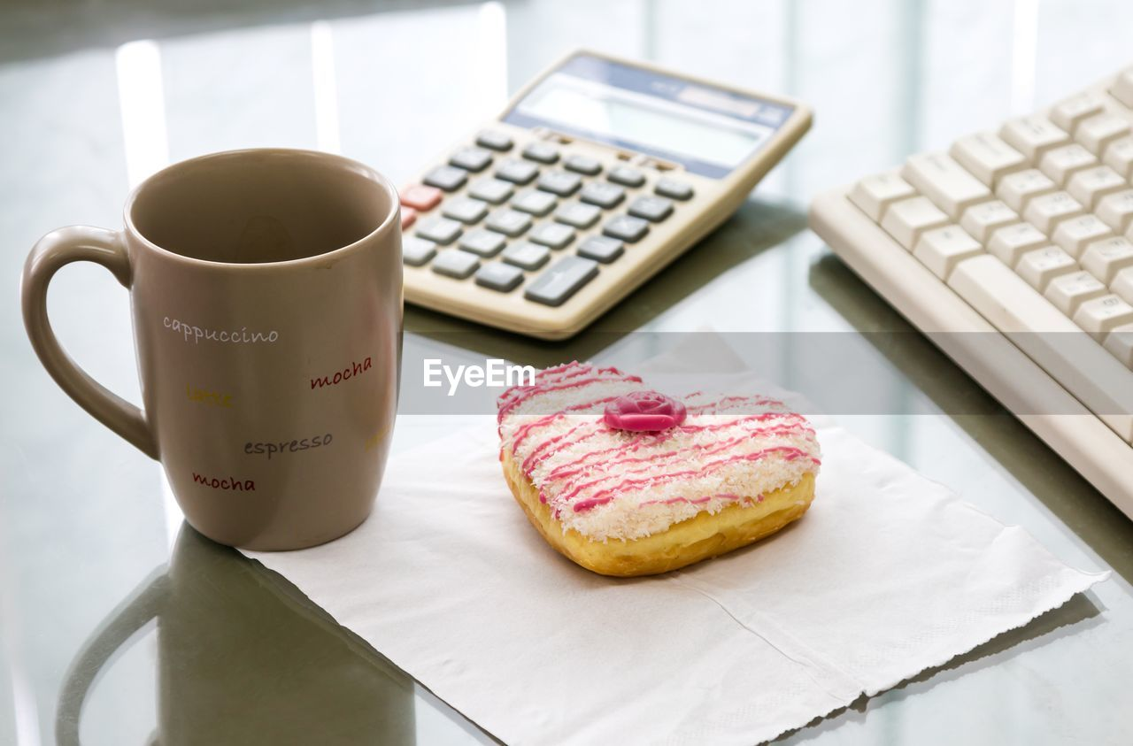 food and drink, indoors, table, still life, sweet food, coffee cup, freshness, technology, no people, wireless technology, focus on foreground, food, close-up, drink, day, ready-to-eat