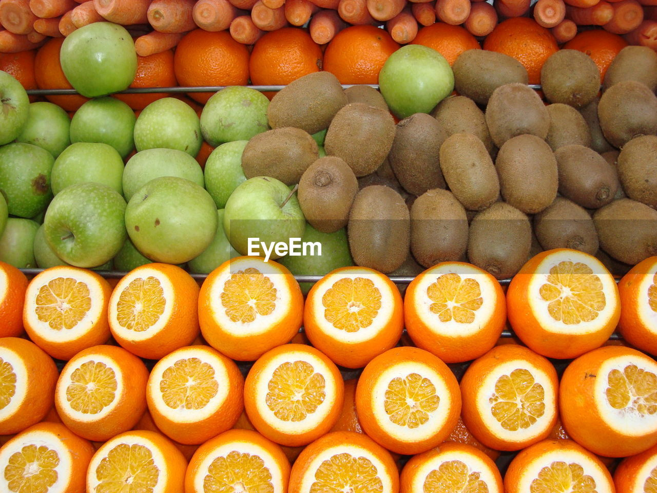 High angle view of orange fruits at store for sale