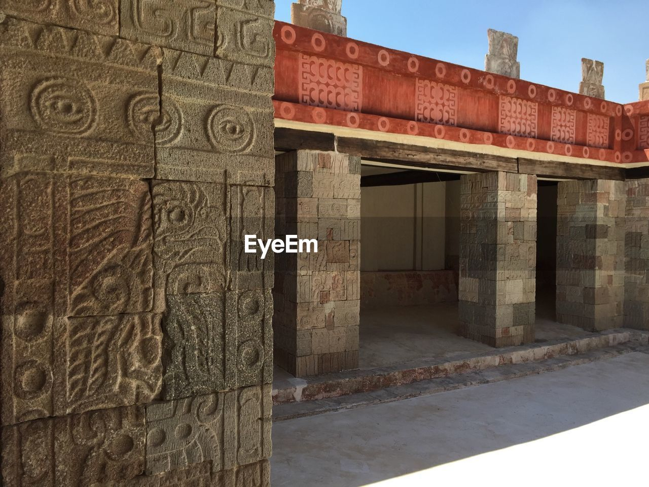Architectural columns at courtyard palace of quetzalpapalotl