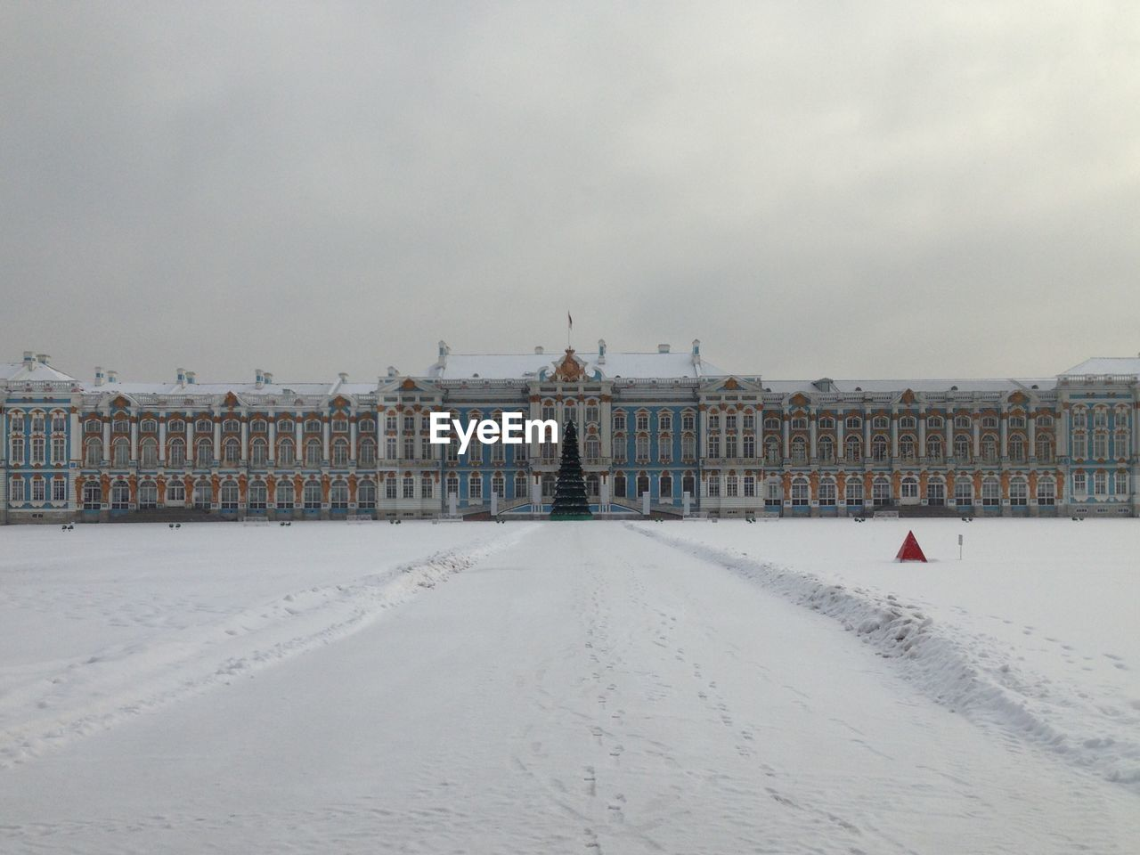 Buildings in city during winter