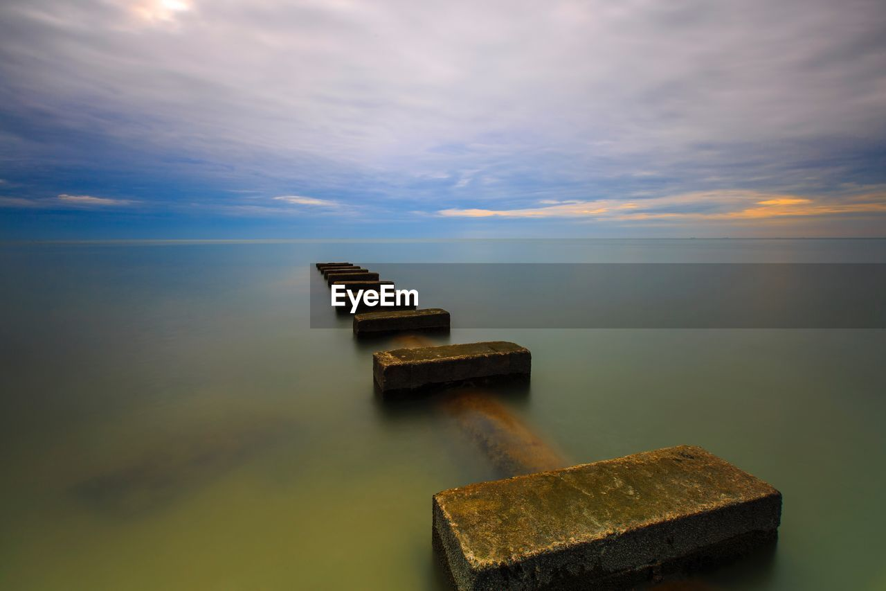 water, sea, sky, nature, tranquil scene, horizon over water, tranquility, no people, cloud - sky, outdoors, sunset, beauty in nature, scenics, day, groyne