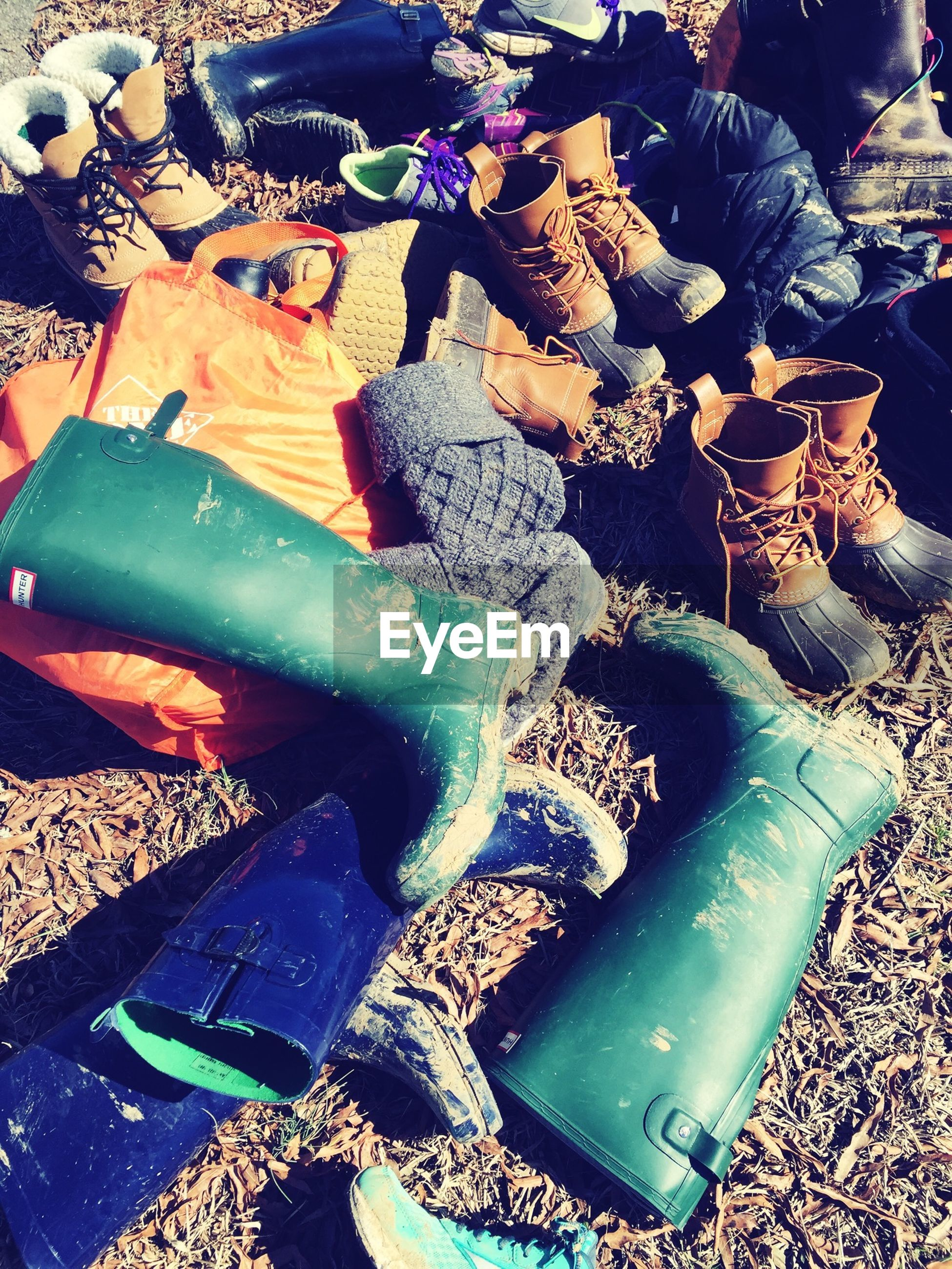 Boots scattered on ground