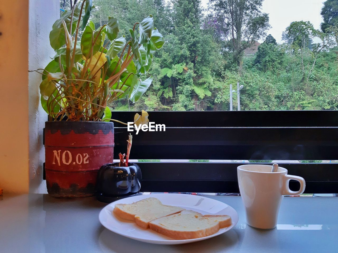 food and drink, plant, drink, table, cup, refreshment, mug, freshness, coffee cup, coffee, no people, indoors, potted plant, still life, coffee - drink, food, plate, nature, growth, window, hot drink, breakfast, meal, crockery, tea cup, glass, houseplant, non-alcoholic beverage