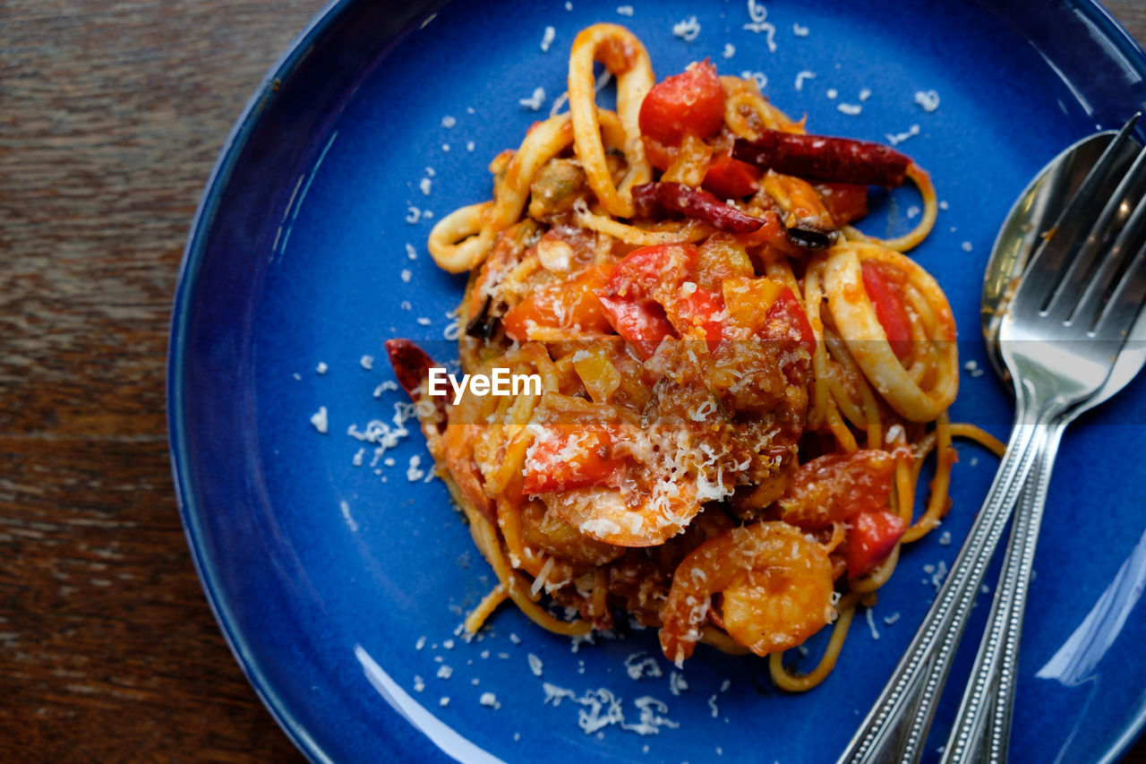 kitchen utensil, food and drink, food, eating utensil, indoors, blue, meal, fork, ready-to-eat, healthy eating, close-up, pasta, no people, plate, italian food, wellbeing, freshness, household equipment, directly above, meat, crockery, dinner, breakfast, snack