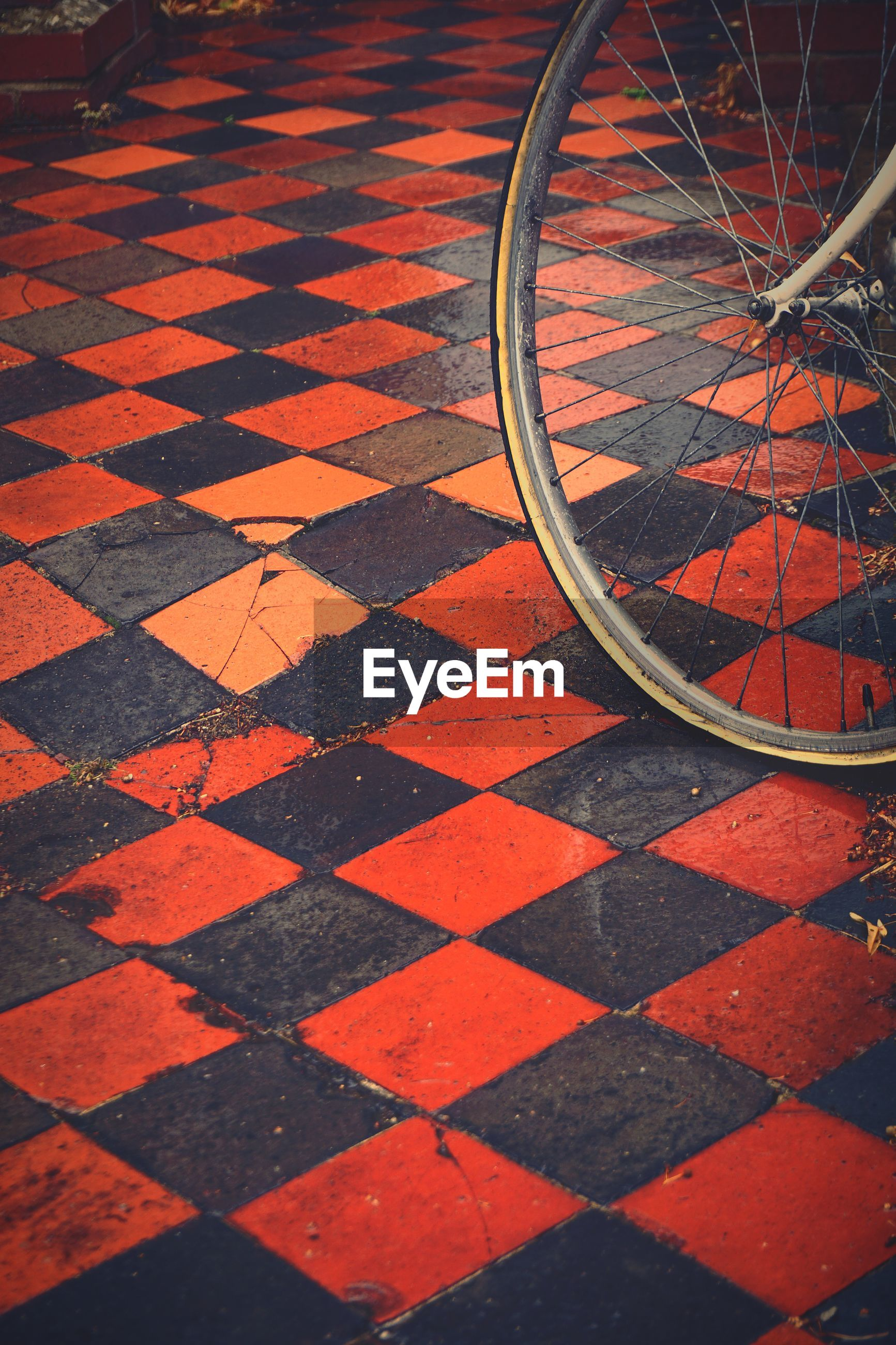 Close-up of bicycle wheel on patterned tiled floor