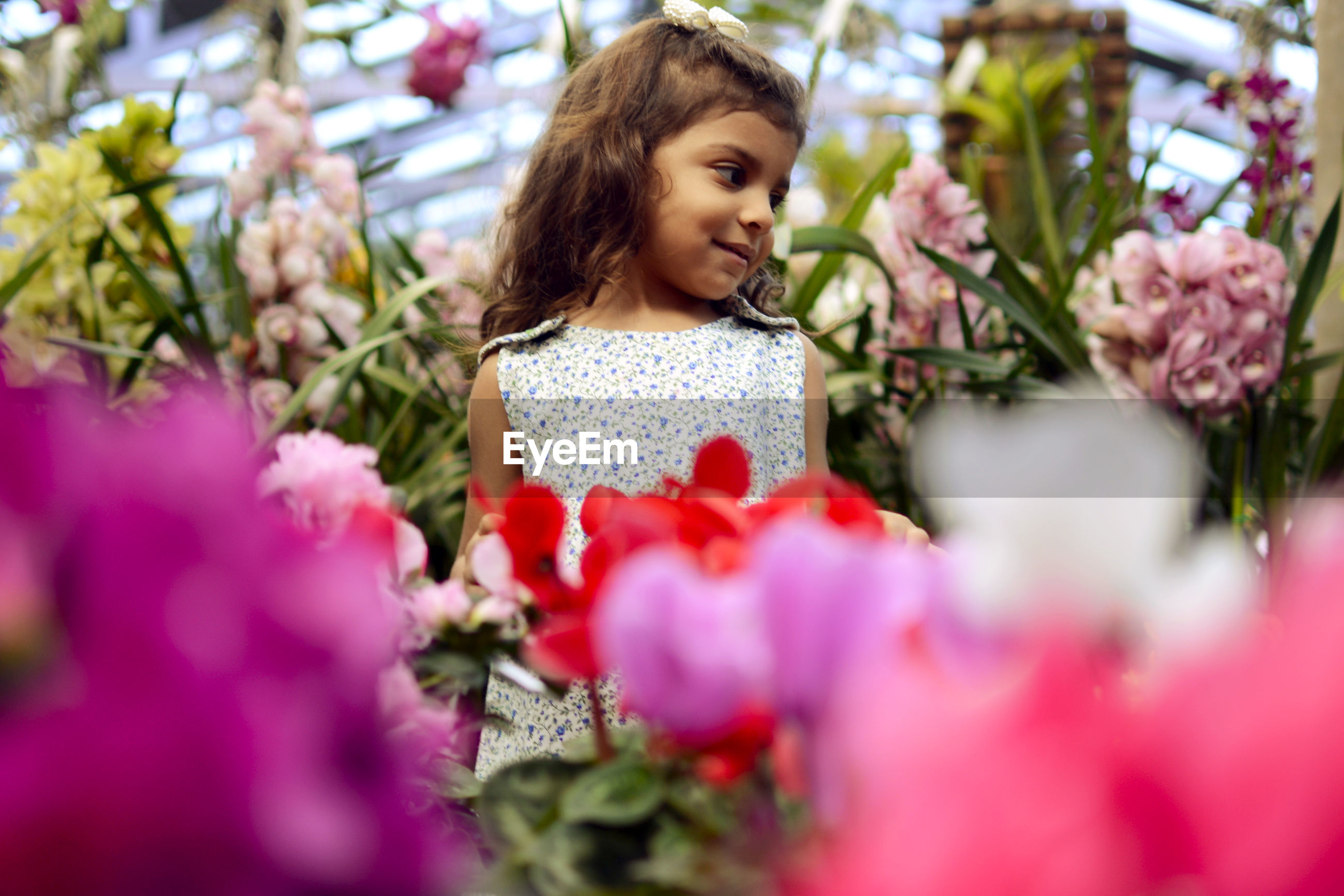 Smiling girl standing amidst flowers at plant nursery