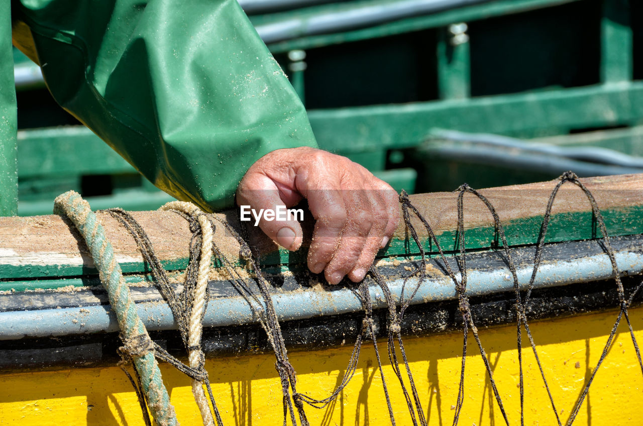 Cropped hand of man on boat