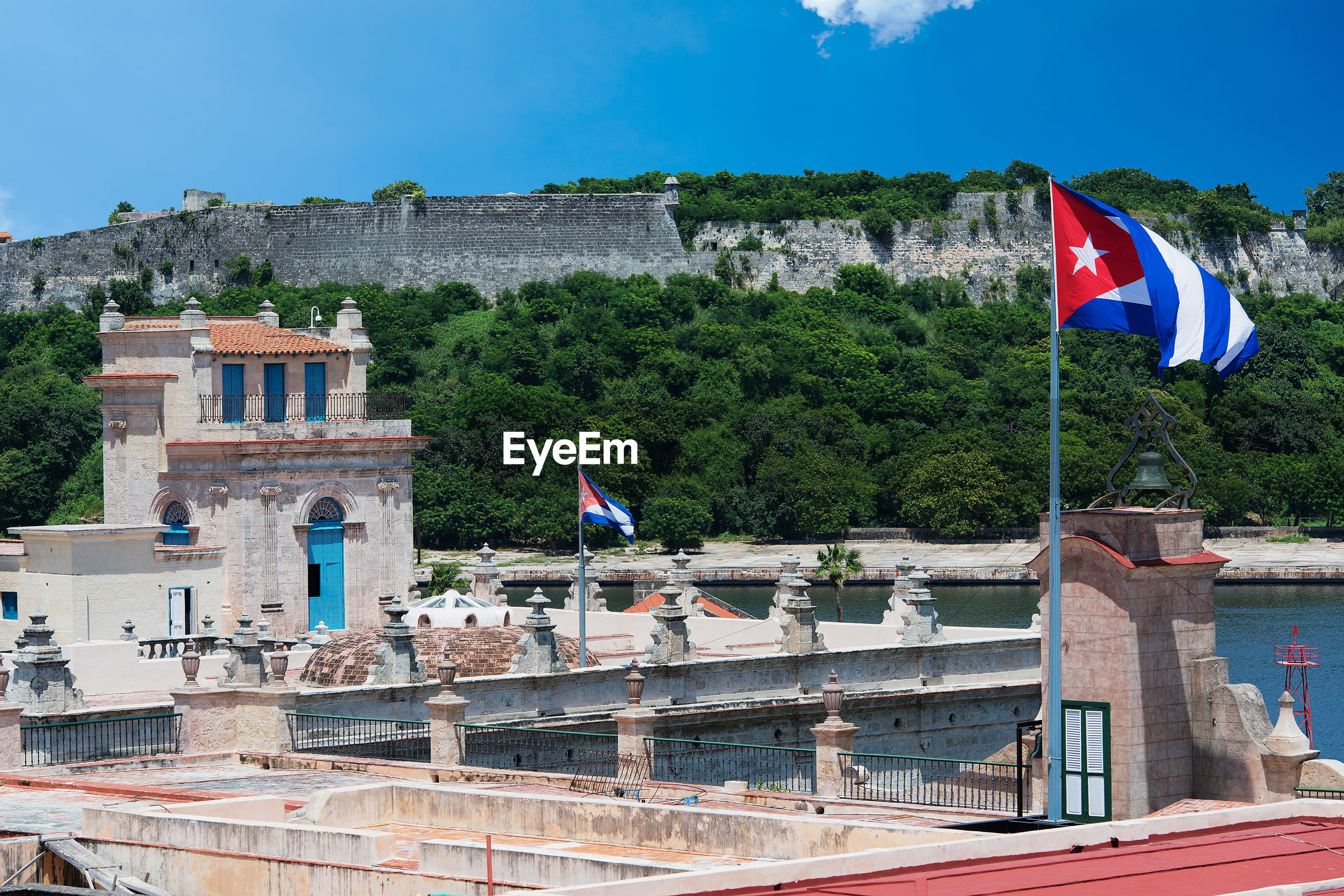 Cuban flags on historic buildings