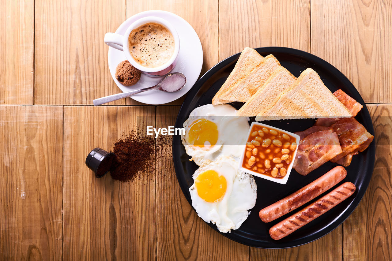 food and drink, food, drink, meal, freshness, ready-to-eat, egg, refreshment, breakfast, table, coffee, high angle view, still life, coffee cup, coffee - drink, indoors, cup, healthy eating, no people, mug, fried egg, fried, temptation, glass