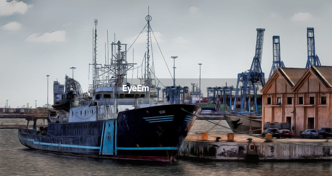 nautical vessel, architecture, building exterior, harbor, built structure, transportation, moored, mode of transport, sky, waterfront, outdoors, no people, day, water, travel destinations, mast, nature, city