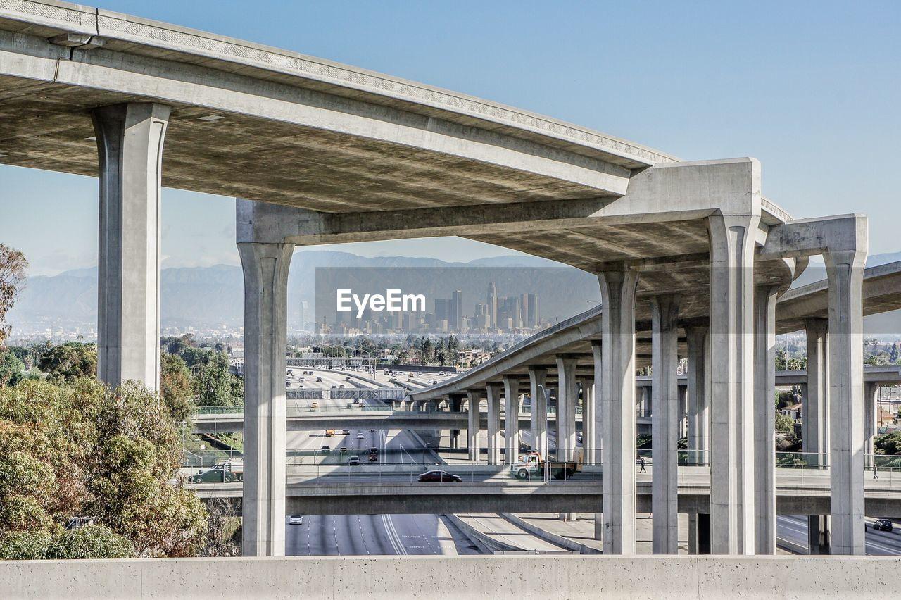 Bridge In City Against Clear Sky