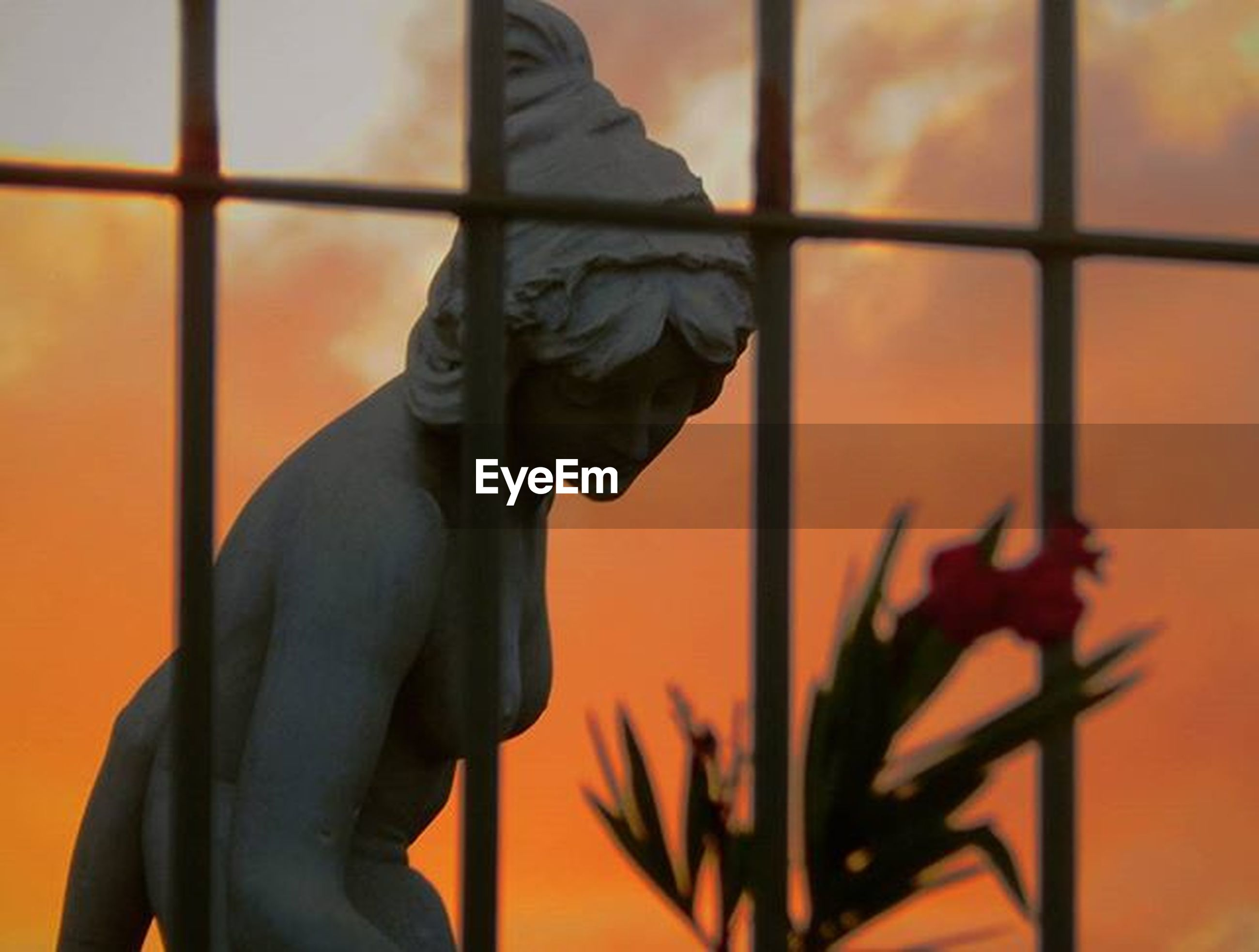 statue, sculpture, art and craft, human representation, art, creativity, focus on foreground, animal representation, orange color, low angle view, built structure, architecture, bird, close-up, no people, sunset, indoors