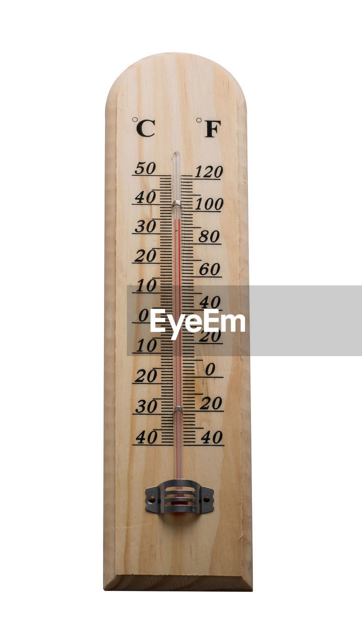 white background, studio shot, number, thermometer, cut out, text, indoors, wood - material, no people, accuracy, close-up, communication, single object, still life, book, publication, instrument of measurement, temperature, copy space, nature