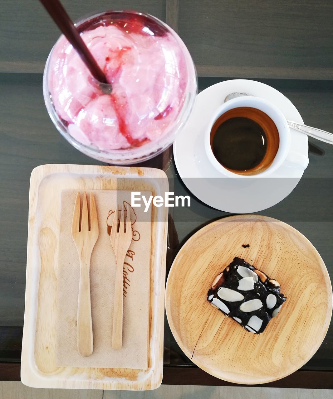 food and drink, food, freshness, table, cup, drink, still life, indoors, refreshment, coffee - drink, dessert, coffee, sweet food, sweet, high angle view, no people, close-up, coffee cup, mug, indulgence, temptation, glass, baked pastry item, breakfast, tray