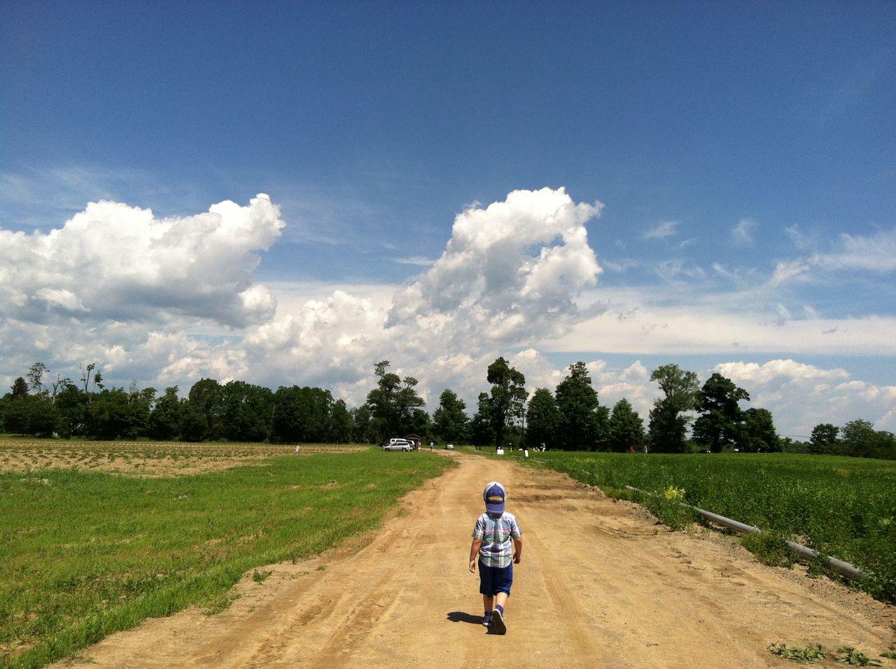 Rear view full length of boy walking amidst grassy field on dirt road