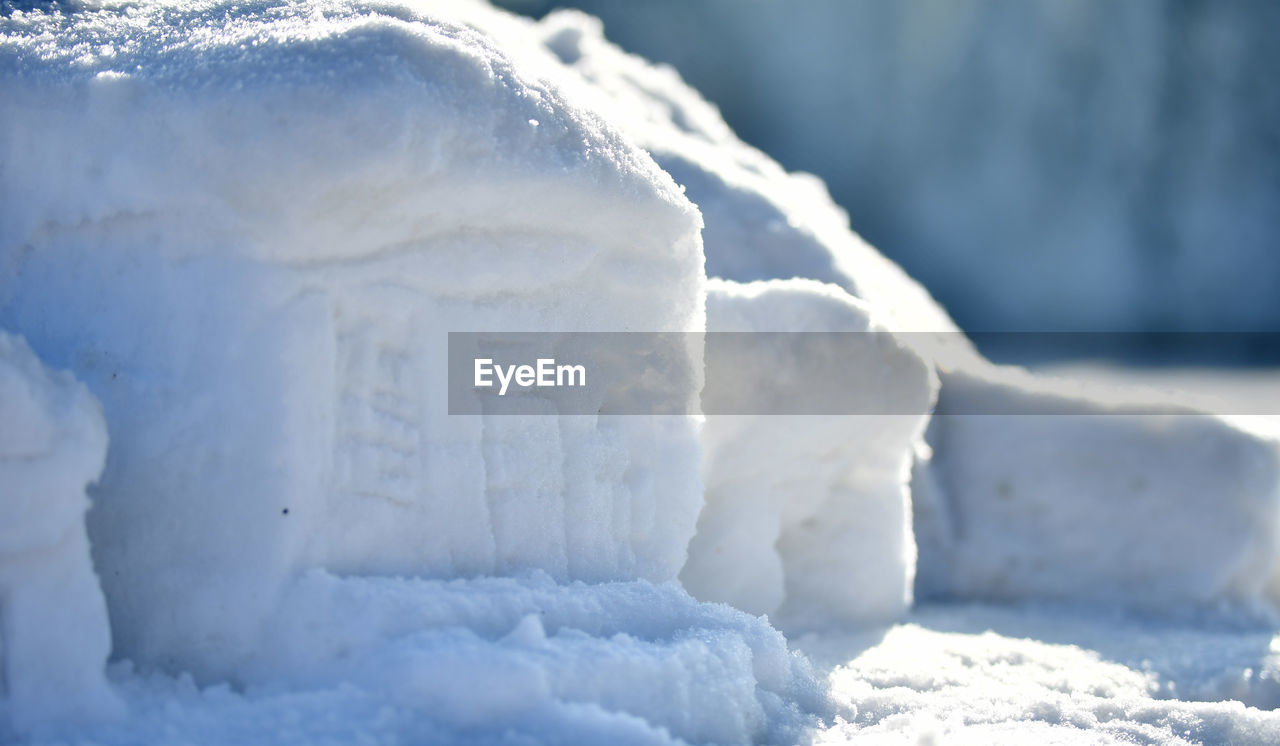 cold temperature, winter, snow, white color, frozen, close-up, no people, day, nature, focus on foreground, outdoors, ice, selective focus, beauty in nature, sunlight, tranquility, crystal, scenics - nature, land, melting