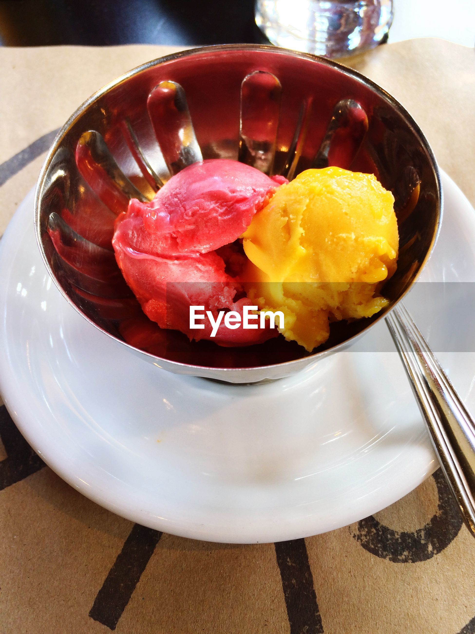 High angle view of sorbet served in bowl on table