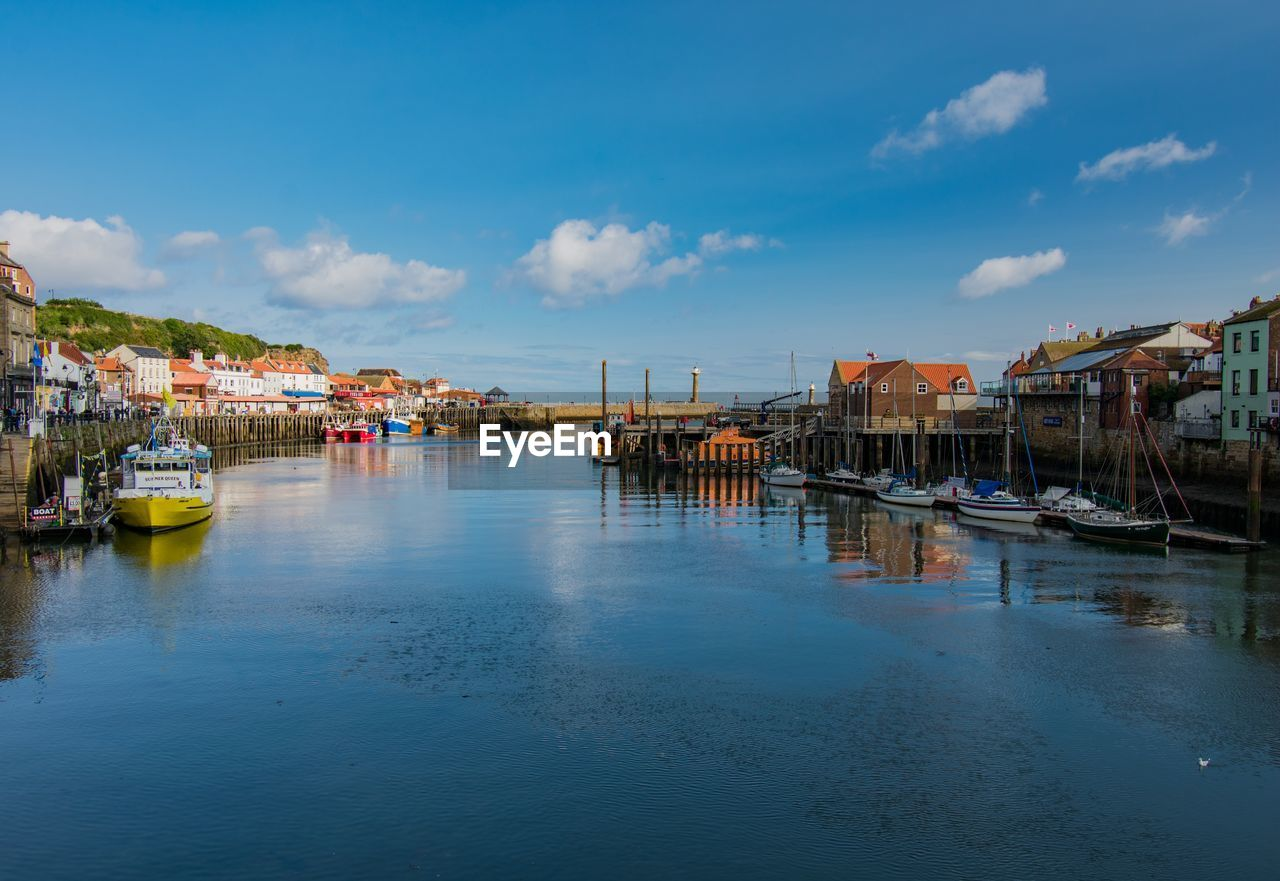 water, nautical vessel, architecture, built structure, building exterior, sky, mode of transportation, transportation, cloud - sky, waterfront, residential district, building, reflection, moored, nature, house, no people, sea, day, outdoors, sailboat, marina