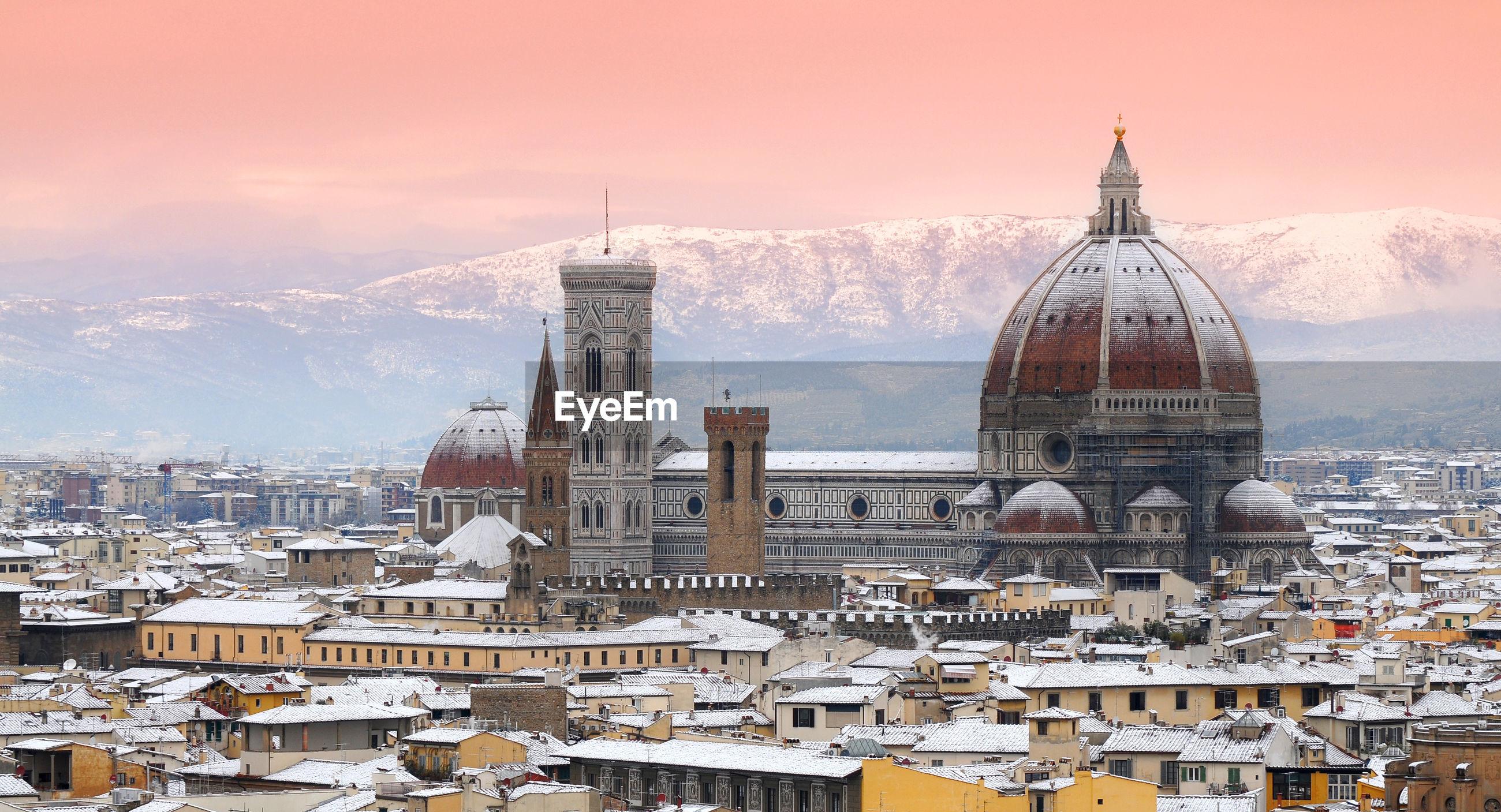 High angle view of duomo santa maria del fiore in city during winter
