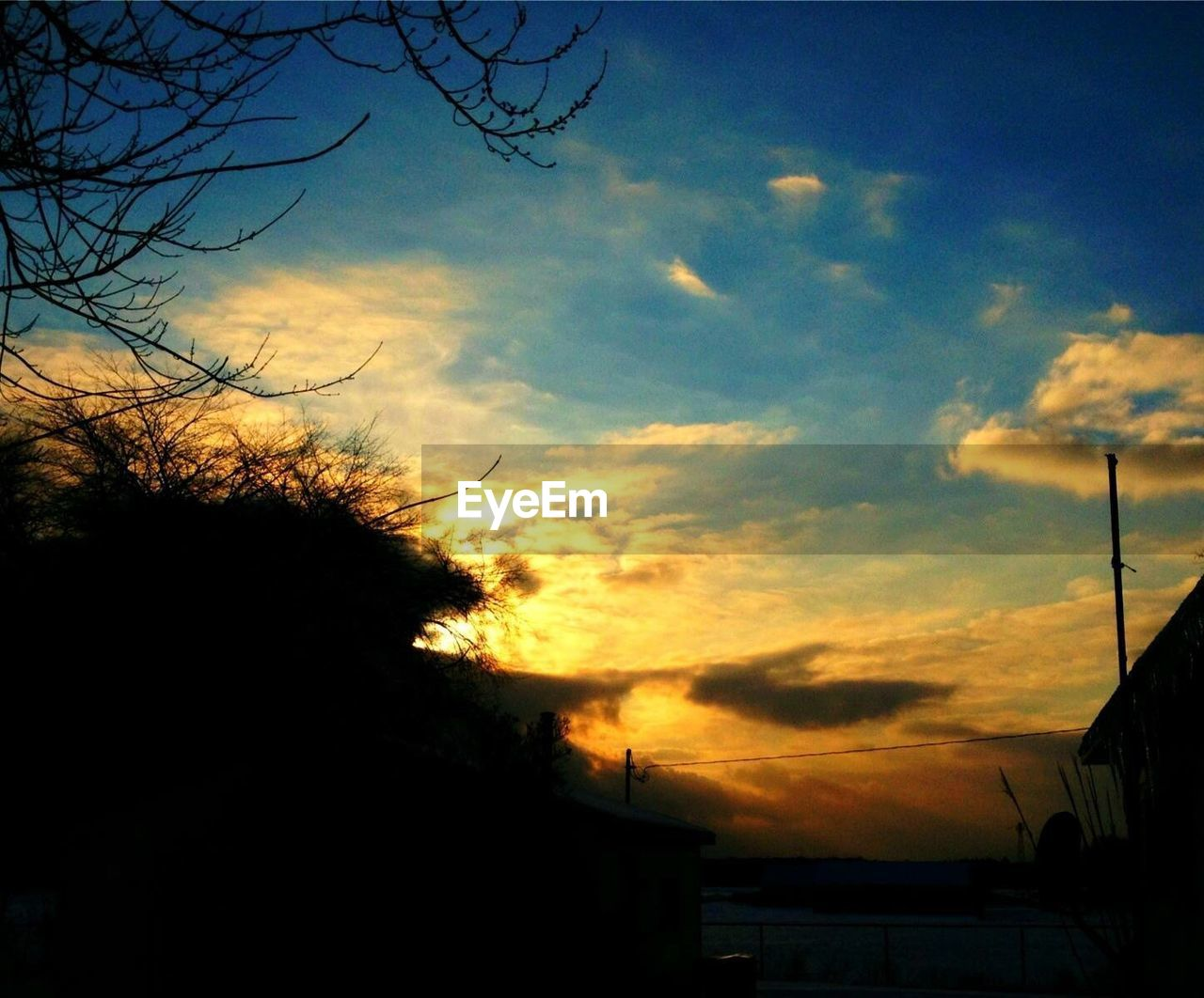 sky, sunset, silhouette, nature, no people, cloud - sky, outdoors, beauty in nature, low angle view, tree, scenics, day