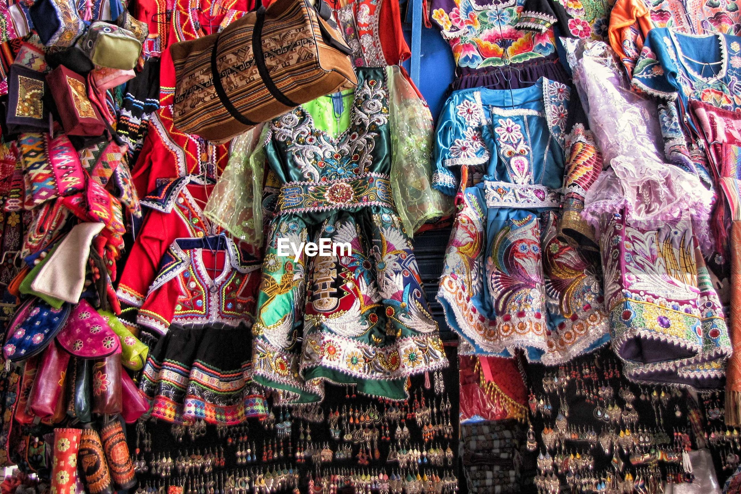 Full frame shot of various objects hanging for sale at market