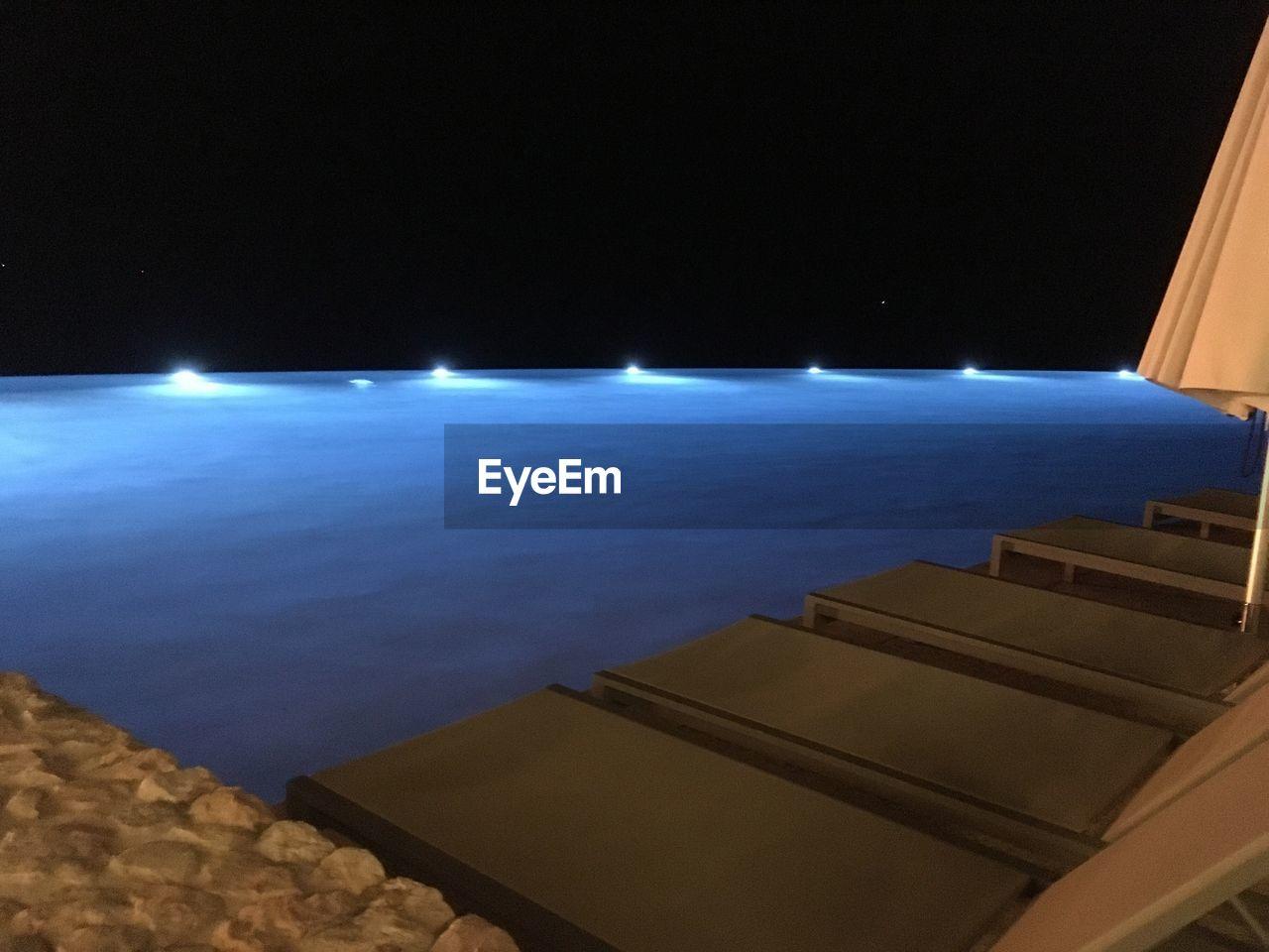 night, illuminated, no people, blue, sea, moon, outdoors, sky